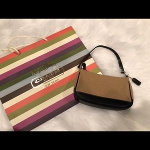 Coach wool and leather clutch. EUC
